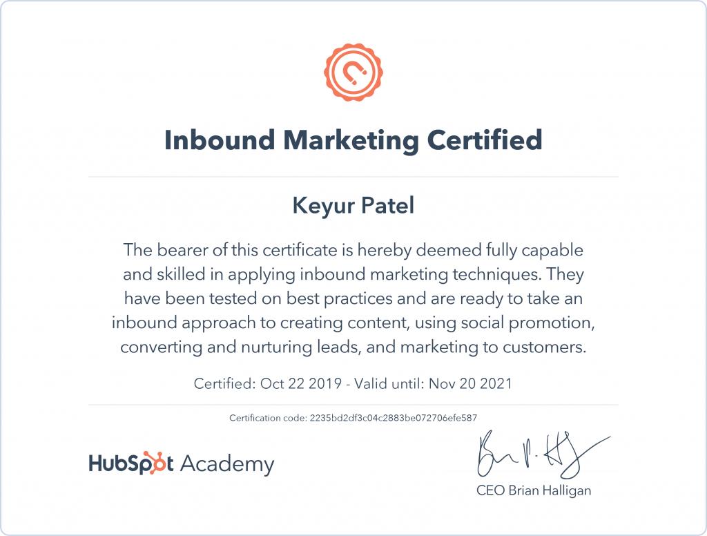 Keyur | Inbound Marketing Certified
