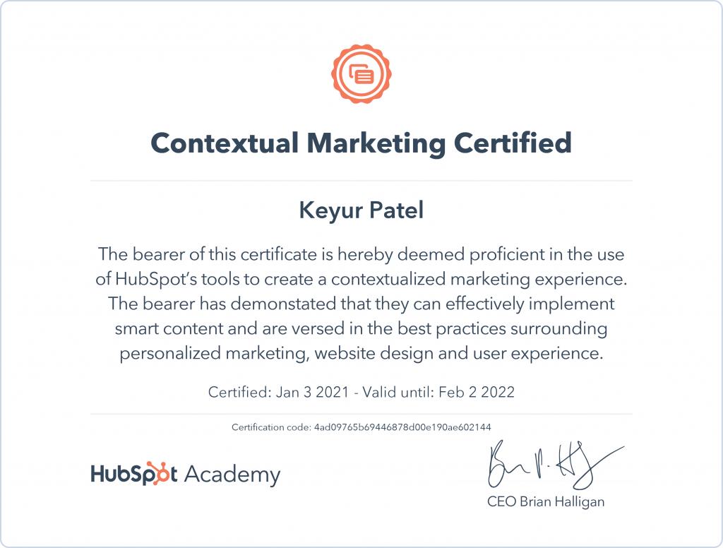 Keyur | Contextual Marketing Certified