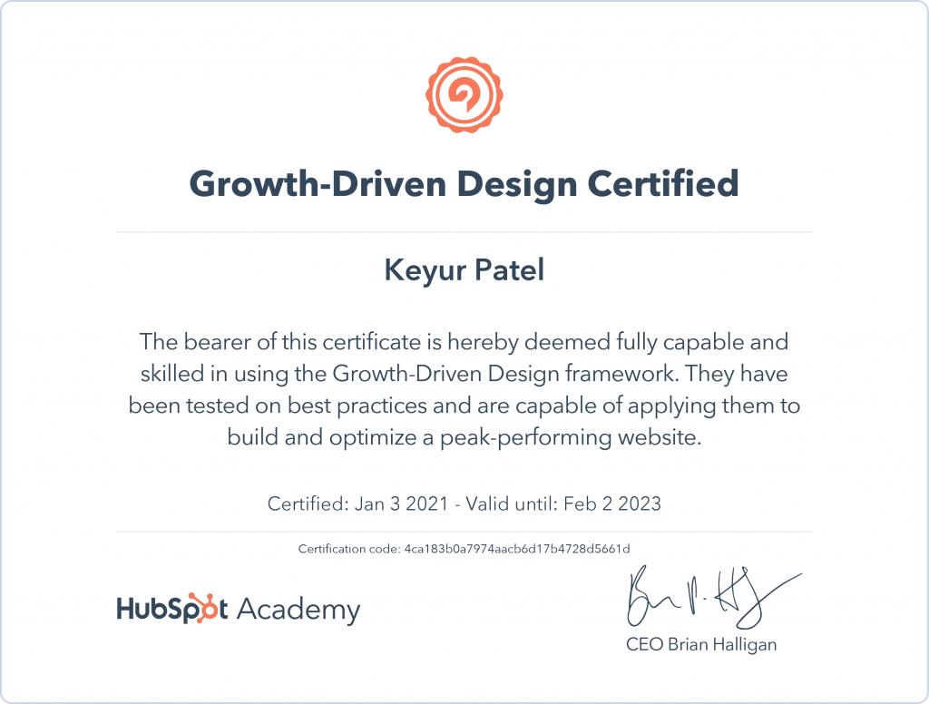 Keyur | Growth Driven Design Certified