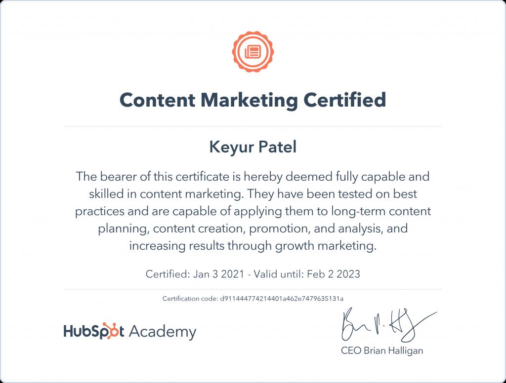 Keyur | Content Marketing Certified